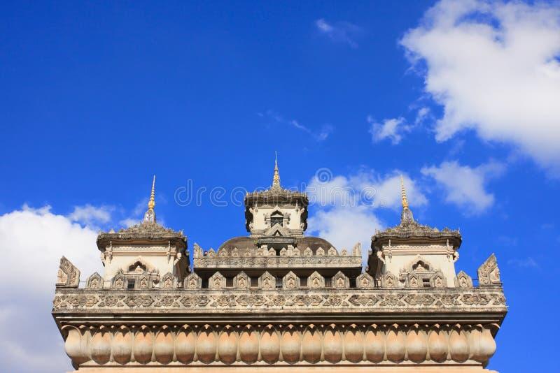 Patuxai曲拱纪念碑在老挝万象 免版税库存照片