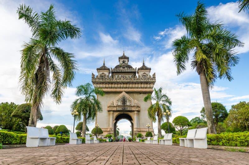 Patuxai纪念碑在万象,老挝 免版税库存图片