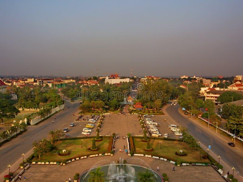 Patuxai jest wojennym zabytkiem w centre Vientiane, Laos, buil obraz stock