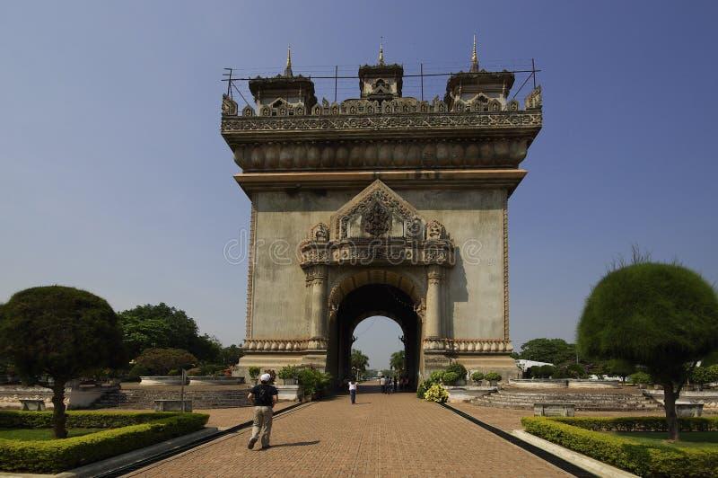 Patuxai monument in Vientiane capital of Laos stock photos
