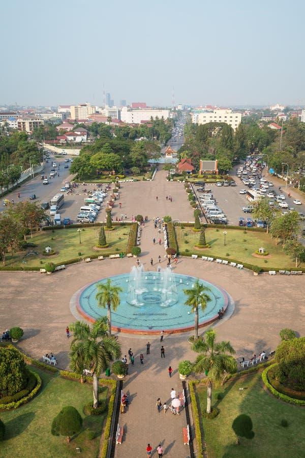 Patuxai park przeglądać od above w Vientiane fotografia stock
