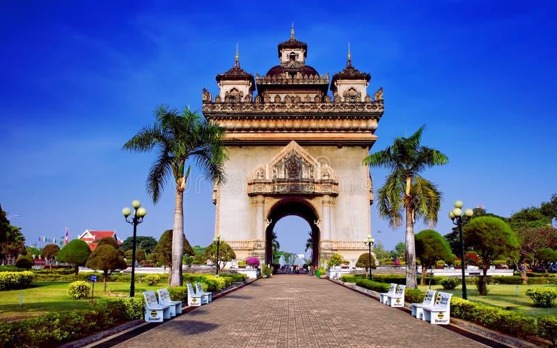 Patuxai Patuxay曲拱在老挝,万象 免版税库存图片