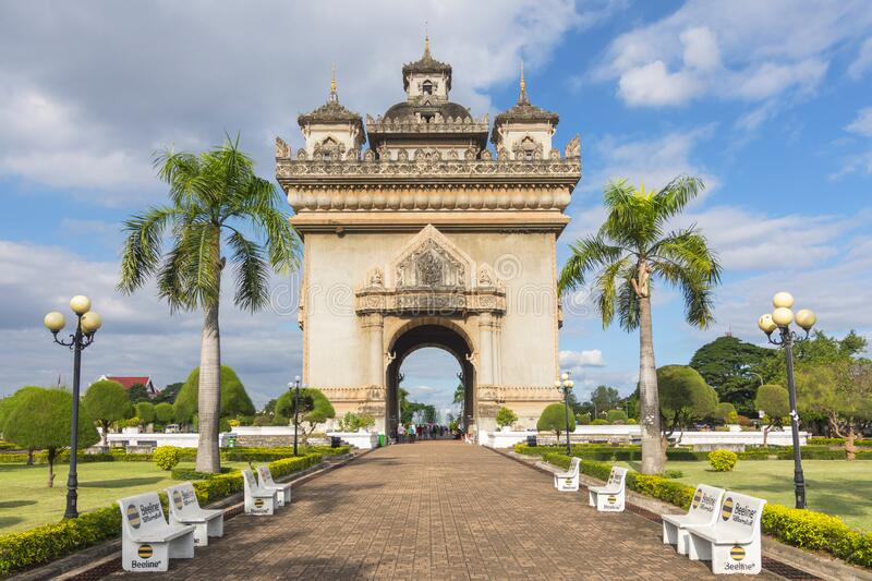 Patuxai, Victory Gate, a replica of Arc de Triomphe, Vientiane, Laos, Indochina, Southeast Asia, Asia.  royalty free stock image