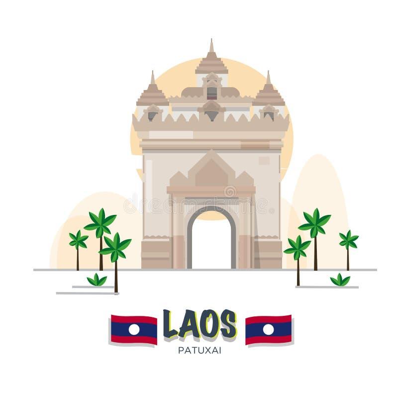 Patuxai Victory Monument in Vientiane Het oriëntatiepunt van Laos ASEAN-reeks stock illustratie