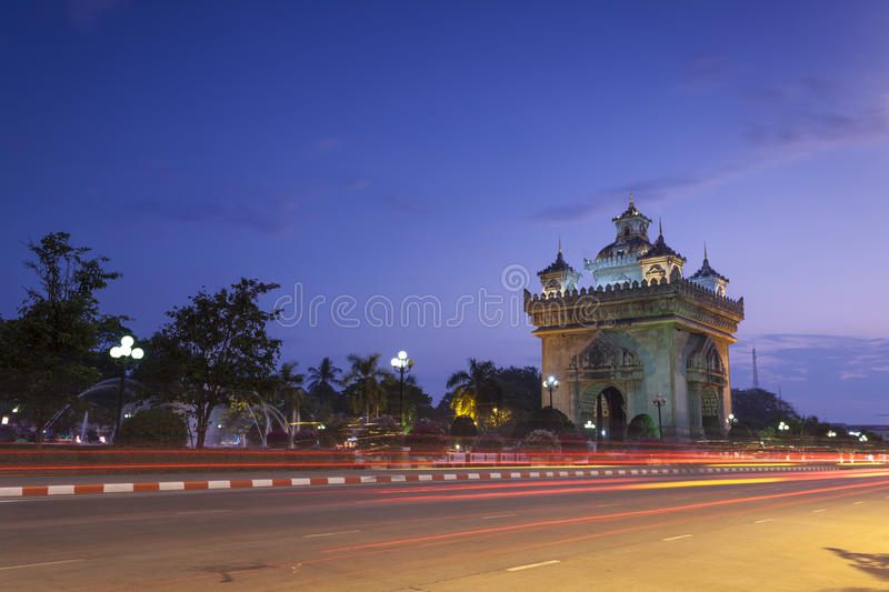 Patuxai Vientiane, Laos. Patuxai literally meaning Victory Gate or Gate of Triumph, formerly the Anousavary or Anosavari Monument, known by the French as ( stock photo