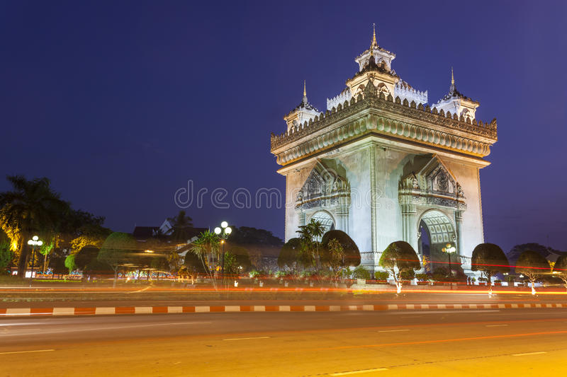 Patuxai Vientiane, Laos. Patuxai literally meaning Victory Gate or Gate of Triumph, formerly the Anousavary or Anosavari Monument, known by the French as ( stock images