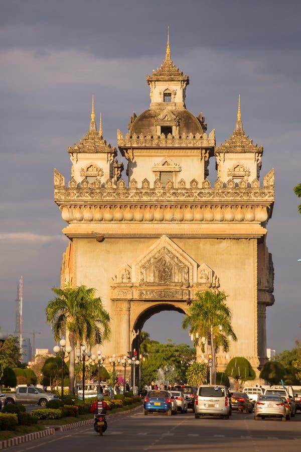 Patuxai zabytek w Vientiane, Laos fotografia stock