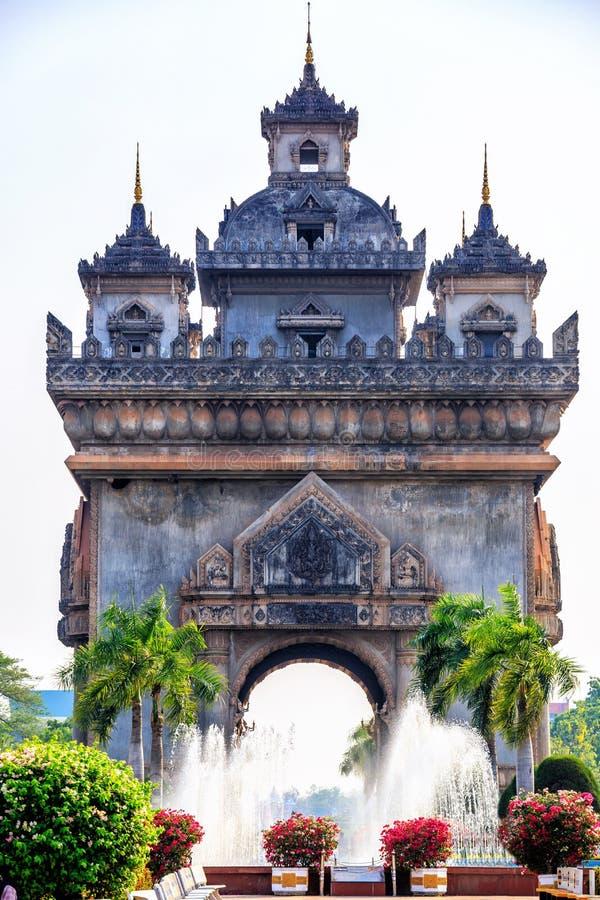 Patuxay lub Patuxai jesteśmy wojennym zabytkiem w centre Vientiane, zwycięstwo bramie lub bramie Triumph, Vientiane fotografia royalty free