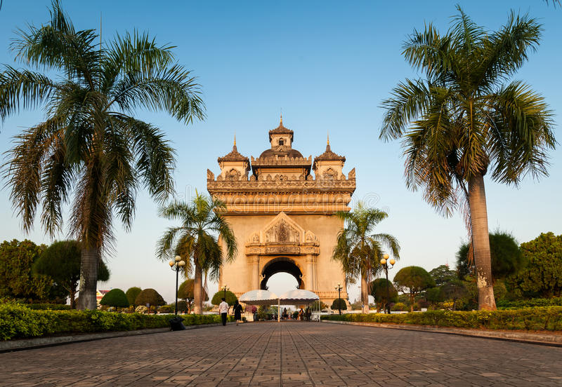 Patuxay (Patuxai)胜利门在Vientian 免版税库存图片