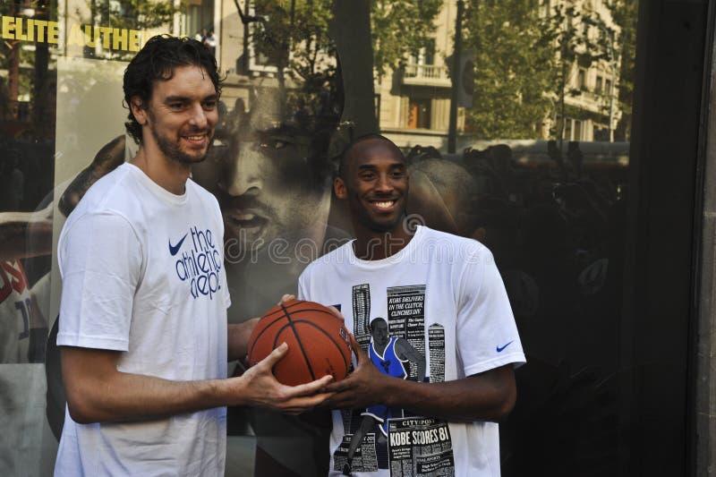 Pau Gasol et Kobe Bryant images stock