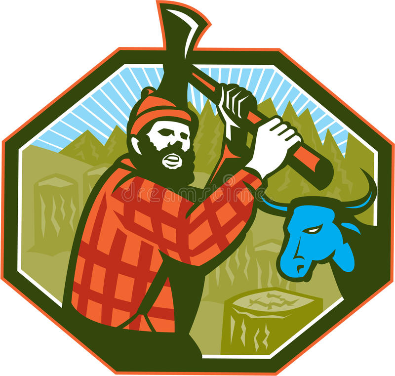 Paul Bunyan-Holzfäller Axe Blue Ox stock abbildung