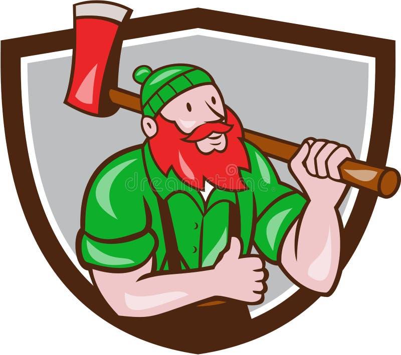 Paul Bunyan Lumberjack Axe Thumbs acima dos desenhos animados da crista ilustração stock