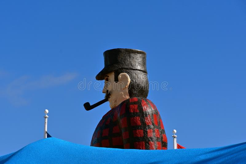 Paul Bunyan, the Lumberjack. BEMIDJI, MINNESOTA, September 26, 2017: The legendary Paul Bunyan and Babe statutes in the park background are a tourist attraction royalty free stock images