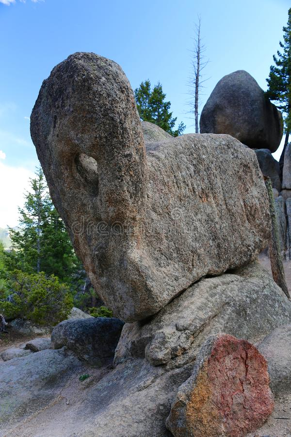 Paul Bunyan`s Boot rock formation in Rocky Mountain National Park, Colorado. A closeup of the unusual geological rock formation known as Paul Bunyan`s Boot in royalty free stock photos