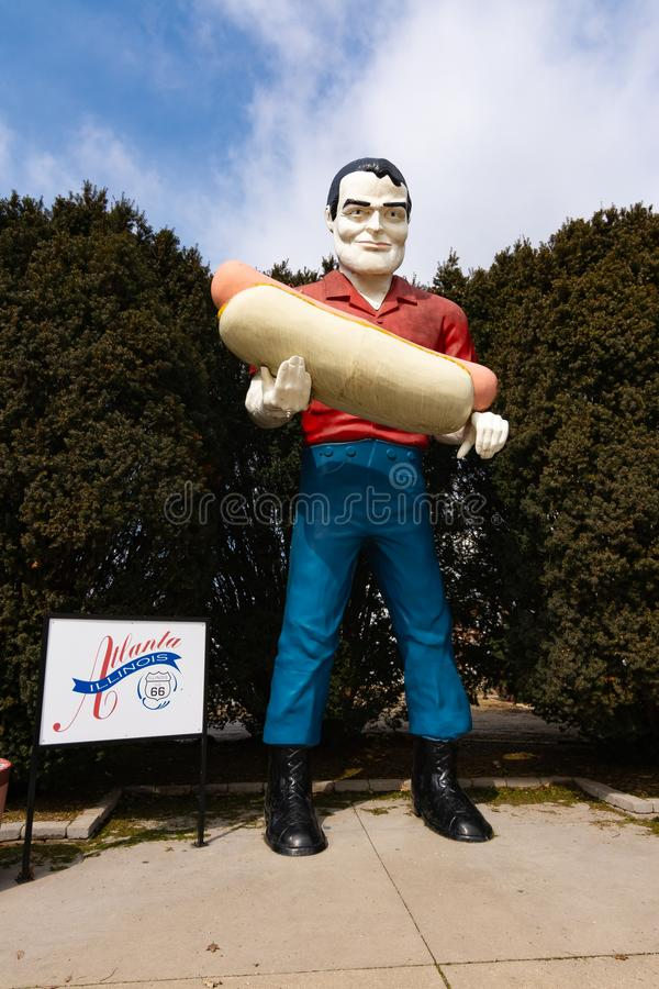 Paul Bunyan Stautue. Atlanta, Illinois, USA. March 10th, 2019. Paul Bunyan Statue on historic Route 66 royalty free stock photo