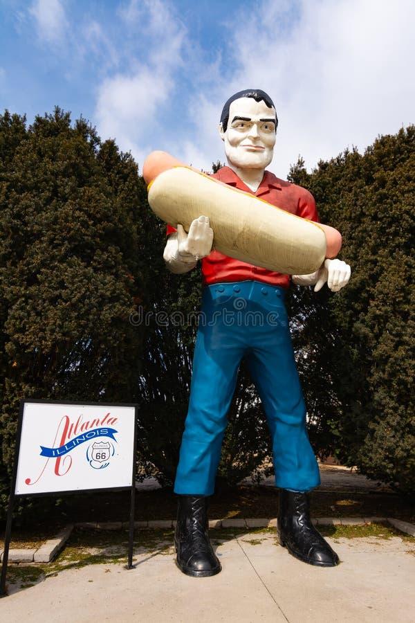 Paul Bunyan Stautue. Atlanta, Illinois, USA. March 10th, 2019. Paul Bunyan Statue on historic Route 66 stock photo