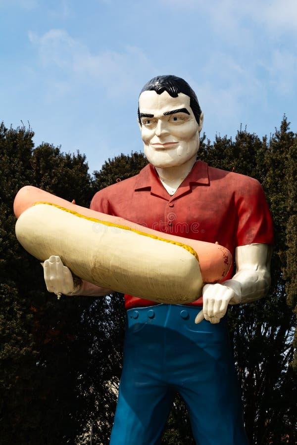 Paul Bunyan Stautue. Atlanta, Illinois, USA. March 10th, 2019. Paul Bunyan Statue on historic Route 66 royalty free stock image
