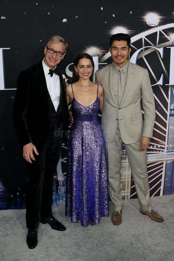 Paul Feig, Emilia Clarke, Henry Golding stock photo