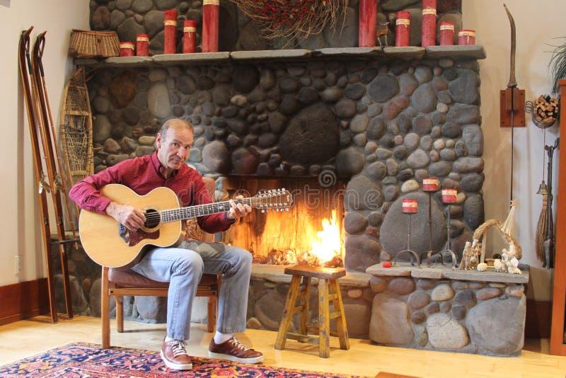 Paul - Fireplace And Guitar 2.jpg Free Public Domain Cc0 Image