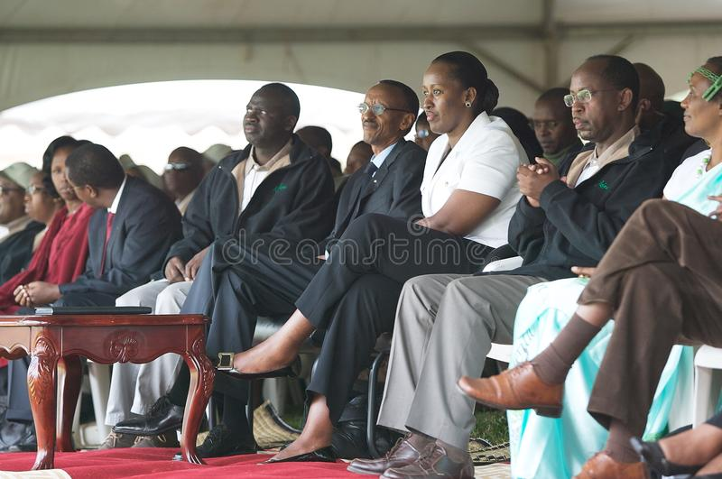 Paul Kagame e sua esposa imagens de stock royalty free