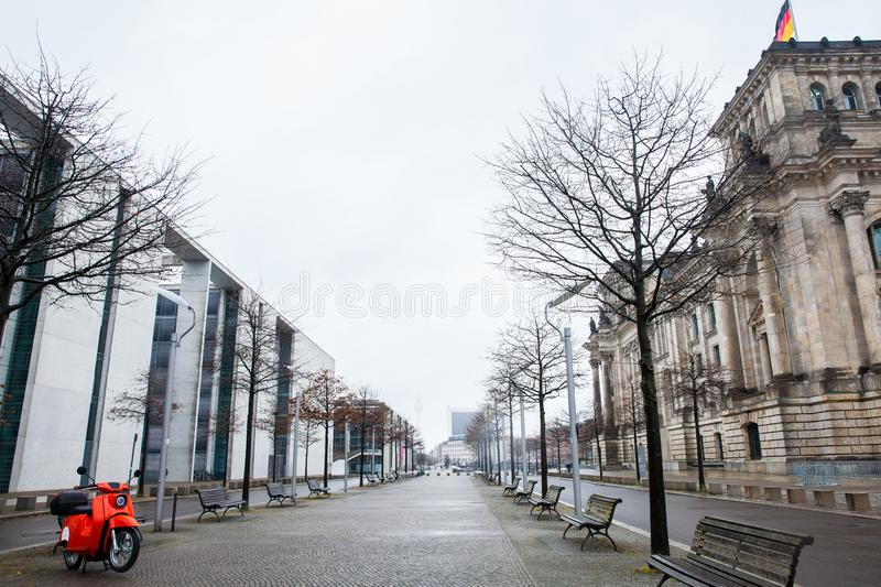 Paul-Löbe-Allee on a cold day. Paul-Löbe-Allee on a cold end of winter day royalty free stock images