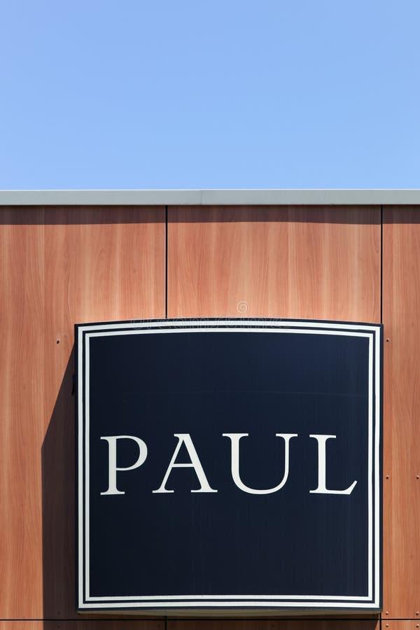 Paul logo na ścianie zdjęcia royalty free
