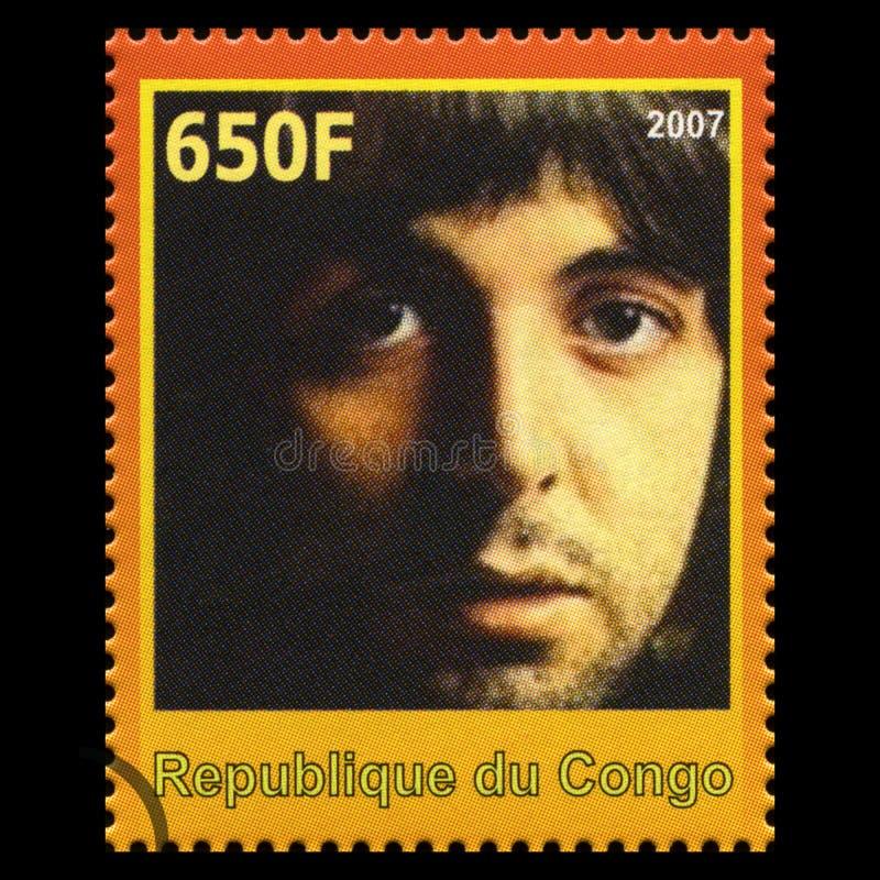 Paul McCartney Bitelsi znaczek pocztowy od Kongo fotografia royalty free