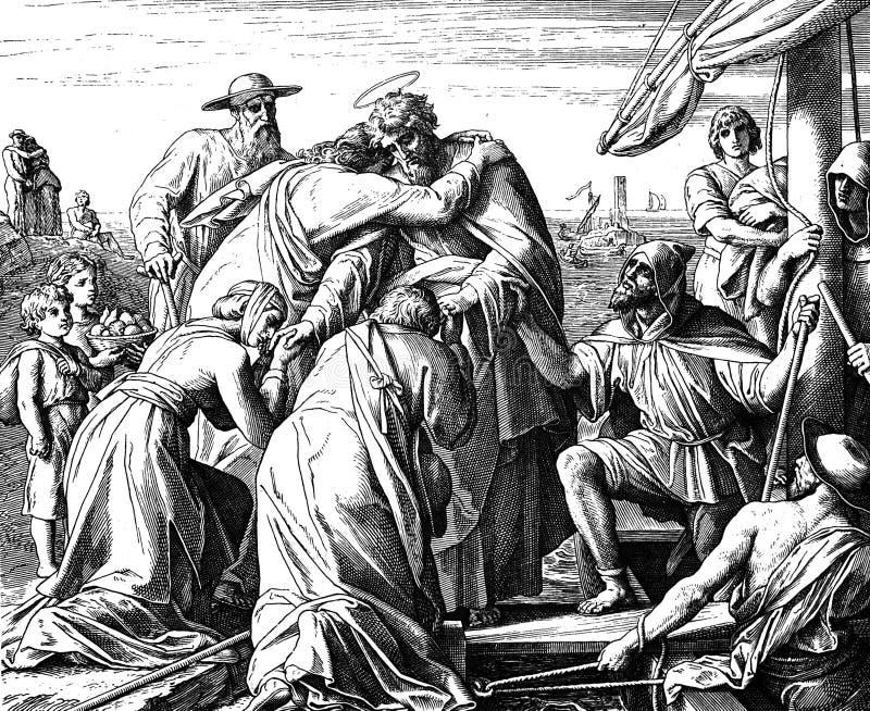 Paul pożegnanie Ephesian starsze osoby obrazy royalty free