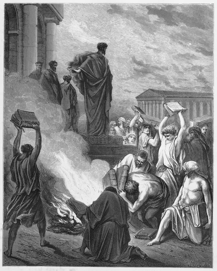 Paul Preaches in Ephesus stock illustratie