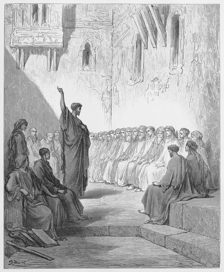 Paul predigt zum Thessalonians stock abbildung