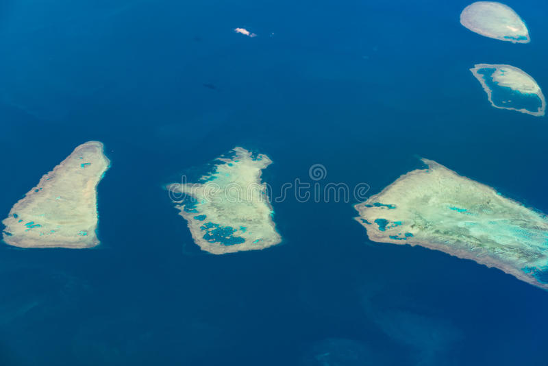 Paul Reef of The Percy Group Great Barrier Reef. Aerial view of Paul Reef of The Percy Group of corals. Great Barrier Reef, Australia royalty free stock image