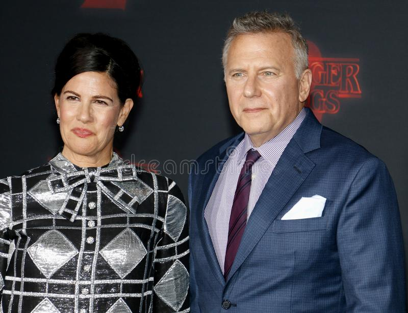 Paul Reiser and Paula Ravets. At the Netflix`s season 2 premiere of `Stranger Things` held at the Regency Village Theatre in Westwood, USA on October 26, 2017 stock images