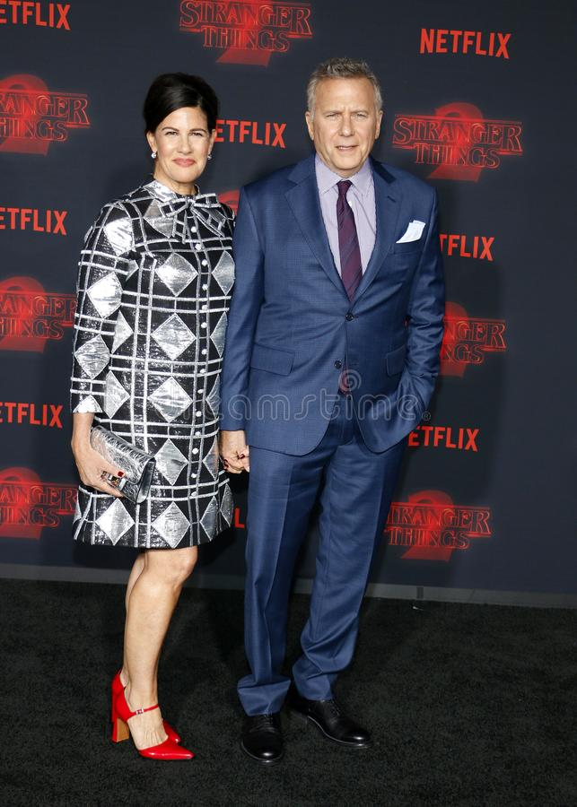 Paul Reiser and Paula Ravets. At the Netflix`s season 2 premiere of `Stranger Things` held at the Regency Village Theatre in Westwood, USA on October 26, 2017 stock photos