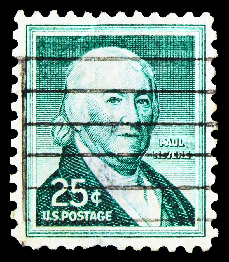 Paul Revere 1735-1818, American Silversmith and Engraver, Liberty Issue serie, circa 1958. MOSCOW, RUSSIA - SEPTEMBER 23, 2019: Postage stamp printed in United royalty free stock photography