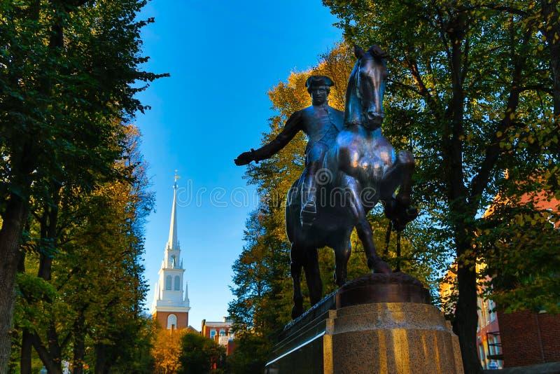 Paul Revere e a igreja norte velha imagem de stock