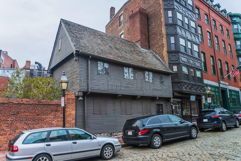 Paul Revere House am Nordquadrat in Boston stockfotografie