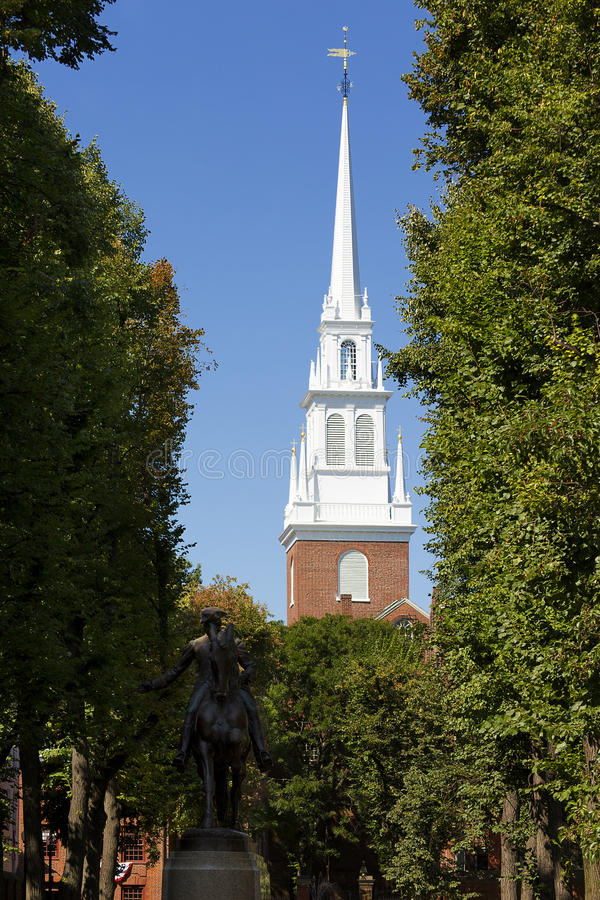 Paul Revere Mall. Part of the Freedom Trail, a pathway for Boston's landmarks and sightseeings, The Paul Revere Mall showcases the North Church and Paul Revere's royalty free stock photo