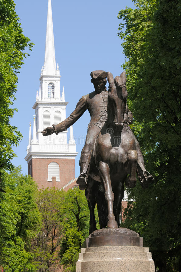 Free Paul Revere Statue And Old North Church Stock Photo - 9935240