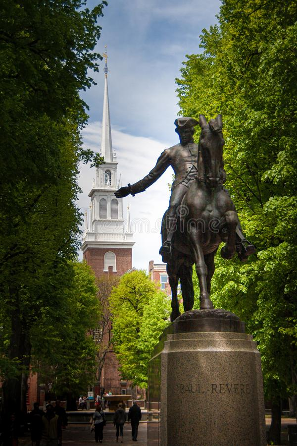Free Paul Revere Statue And Old North Church In Boston, Massachusetts Stock Images - 167355104