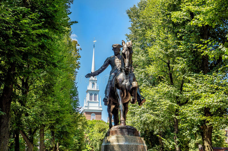 Paul Revere Statue in Boston, Massachusetts lizenzfreie stockfotos