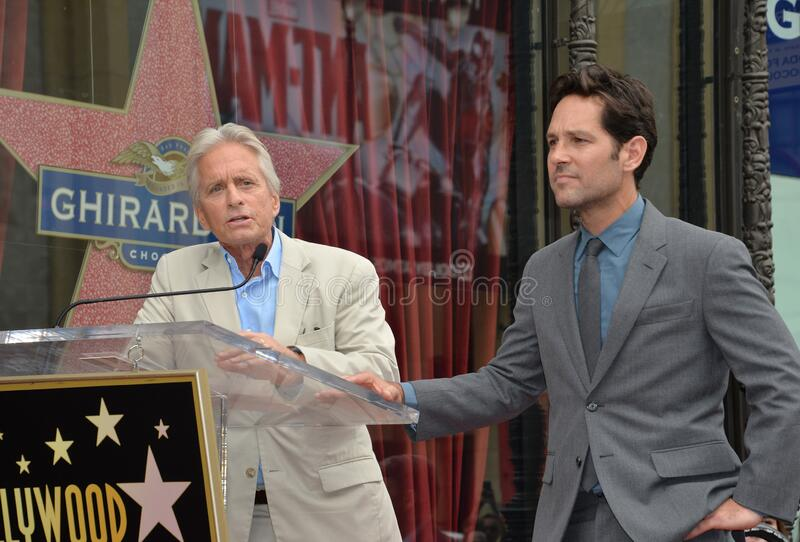 Paul Rudd & Michael Douglas. LOS ANGELES, CA - JULY 1, 2015: Actors Paul Rudd & Michael Douglas (left) on Hollywood Blvd where Rudd was honored with the 2,554th royalty free stock photo