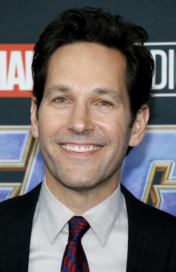 Paul Rudd. At the World premiere of `Avengers: Endgame` held at the LA Convention Center in Los Angeles, USA on April 22, 2019 stock image