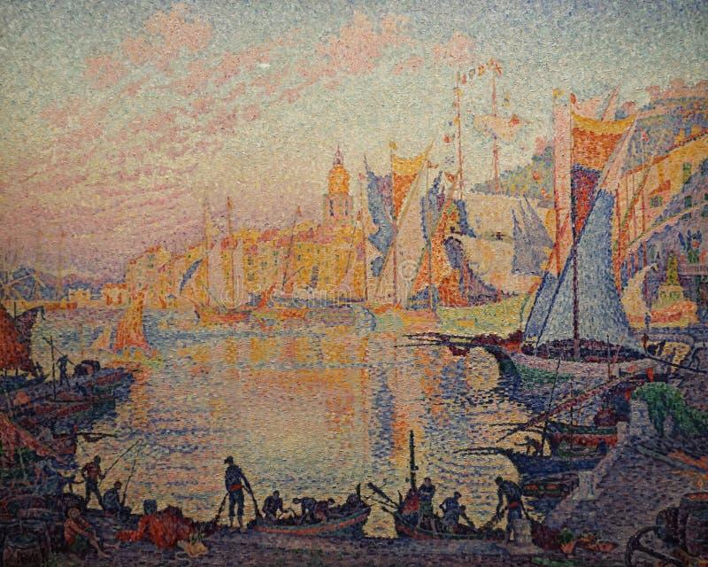 Paul Signac Le port de Saint Tropez P?trole sur la toile image libre de droits