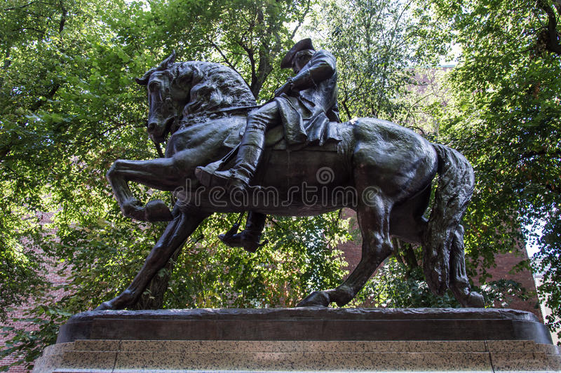 Paul venera la estatua cuadrada Boston foto de archivo libre de regalías