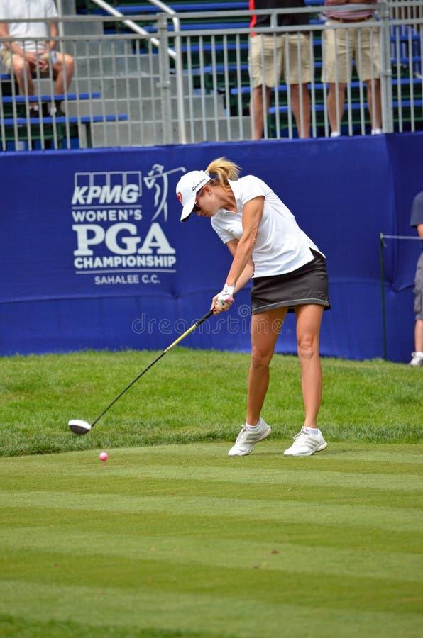 Paula Creamer Tee's off at the 2016 KPMG Women's Championship at Sahalee Country Club royalty free stock photos