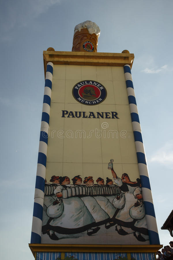 Paulaner tower at Oktoberfest in Munich, 2016. Munich, Germany - September 24, 2016: Roof of the Paulaner tower with the famous beer stein stock photography