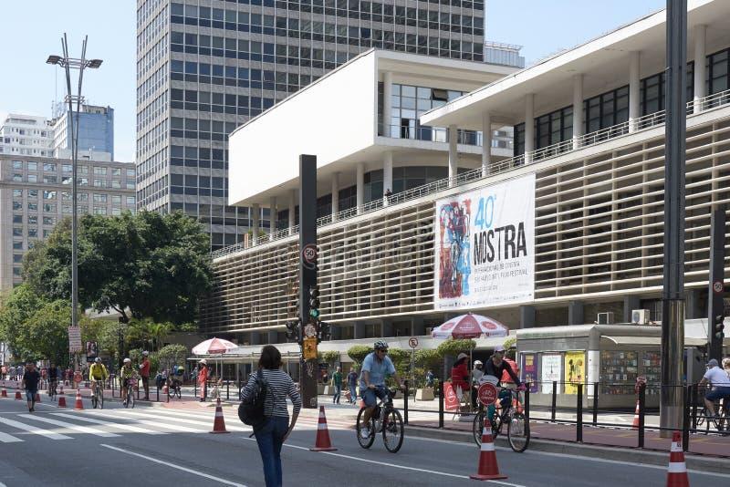 Paulista aleja w Sao Paulo, otwiera dla społeczeństwa dla zabawy obrazy royalty free