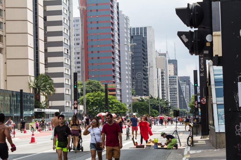 Paulista-Allee - die Haupttouristenattraktion in Sao Paulo, Brasilien stockfotos