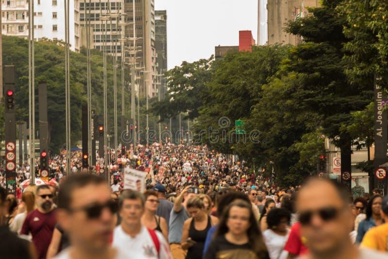 Paulista-Allee - die Haupttouristenattraktion in Sao Paulo, Brasilien stockbild