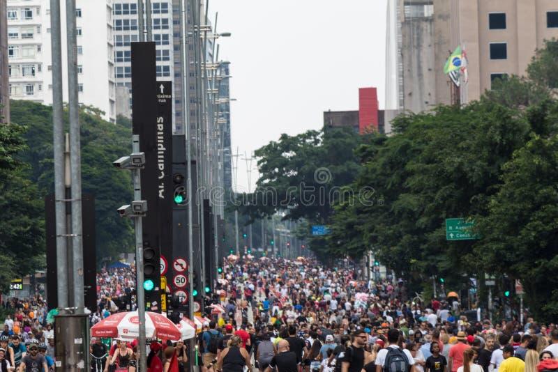 Paulista-Allee - die Haupttouristenattraktion in Sao Paulo, Brasilien lizenzfreies stockbild